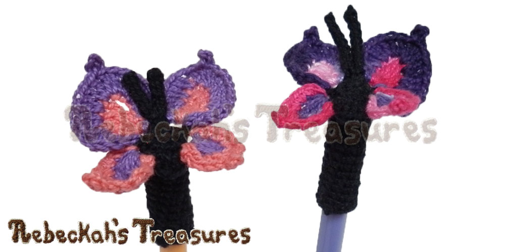 Elegant Butterfly Pencil Topper / Finger Puppet | FREE crochet pattern via @beckastreasures | Looking for quick and easy last minute gifts to crochet? Try this gorgeous Elegant Butterfly Pencil Topper pattern. It's fun for all ages and perfect for last-minute gifts or bulk gifting events! #butterfly #crochet #penciltopper #fingerpuppet