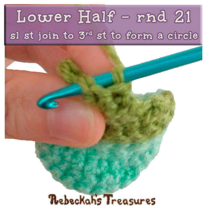 WIP Picture 06 - Lower Half rnd 21 | Crocheting the Spiral Conch Shell via @beckastreasures | FREE Crochet Pattern at www.rebeckahstreasures.com! #seashell #crochet #spiralconchshell #shell #treasure