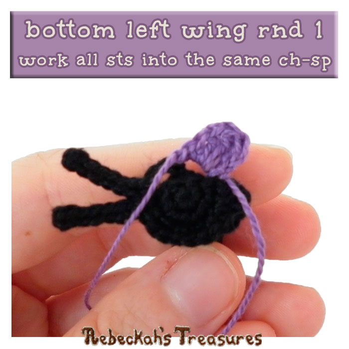 WIP Picture 4 | Crocheting the Elegant Butterfly's Bottom-Left-Wing via @beckastreasures | FREE Pencil Topper / Finger Puppet Crochet Pattern!