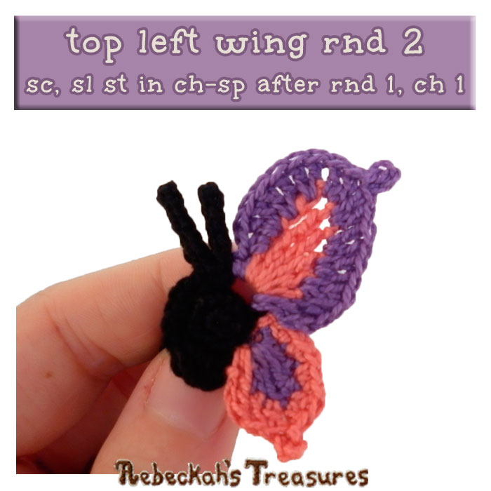WIP Picture 16 | Crocheting the Elegant Butterfly's Top-Left-Wing via @beckastreasures | FREE Pencil Topper / Finger Puppet Crochet Pattern!