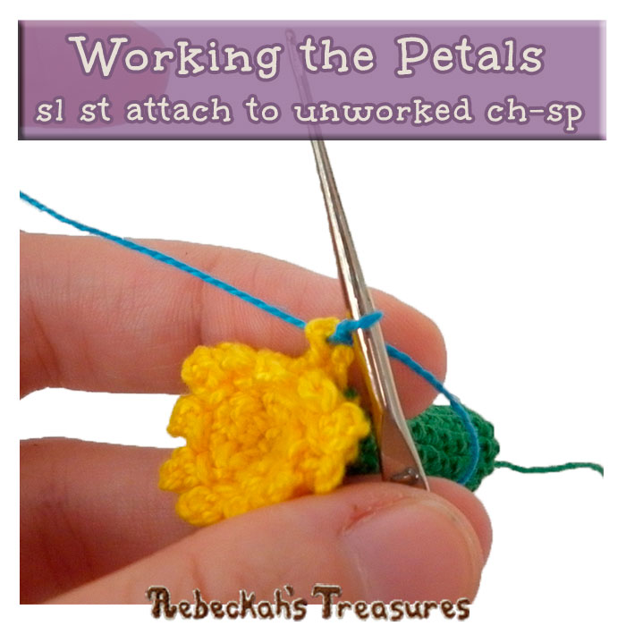 WIP Picture 2 | Crocheting the Petals of the Forget-Me-Knot Flower via @beckastreasures | FREE Pencil Topper / Finger Puppet Crochet Pattern!