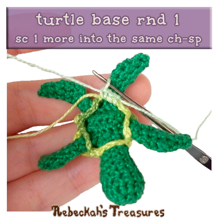 WIP Picture 17 | Crocheting the Turtle's Base via @beckastreasures | FREE Finger Puppet Crochet Pattern!