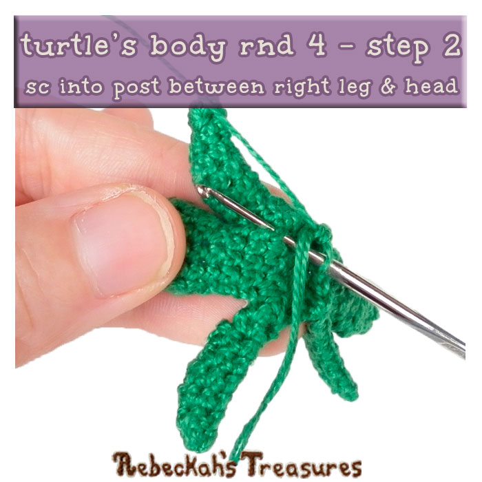 WIP Picture 09 | Crocheting the Turtle's Body via @beckastreasures | FREE Finger Puppet Crochet Pattern!