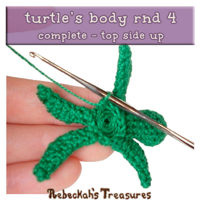 WIP Picture 12 | Crocheting the Turtle's Body via @beckastreasures | FREE Finger Puppet Crochet Pattern!