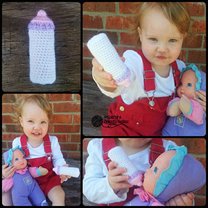 Baby Doll Bottle Amigurumi Toy or Photo Prop - Free Crochet Pattern by @ArtofaDG | Featured at Articles of a Domestic Goddess - Sponsor Spotlight Round Up via @beckastreasures | #fallintochristmas2016 #crochetcontest #spotlight #crochet #roundup