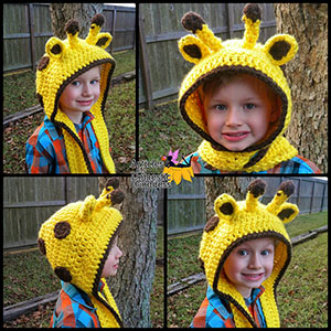 Giraffe Scoodie - Crochet Pattern by @ArtofaDG | Featured at Articles of a Domestic Goddess - Sponsor Spotlight Round Up via @beckastreasures | #fallintochristmas2016 #crochetcontest #spotlight #crochet #roundup