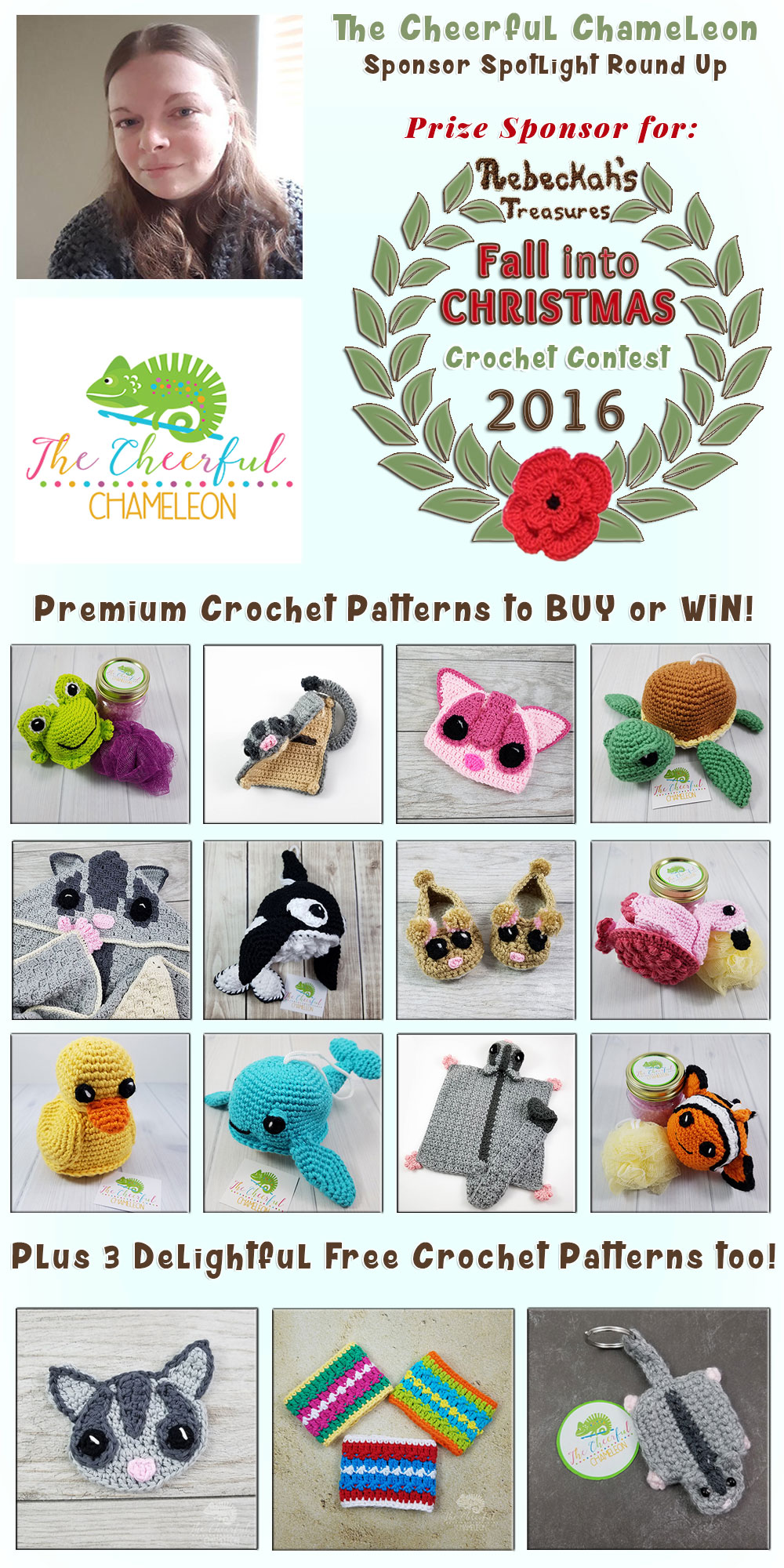 The Cheerful Chameleon - Sponsor Spotlight Round Up via @beckastreasures | 12 Premium + 3 #FREE Crochet Patterns by @The Cheerful Chameleon | #fallintochristmas2016 #crochetcontest #spotlight #crochet #roundup