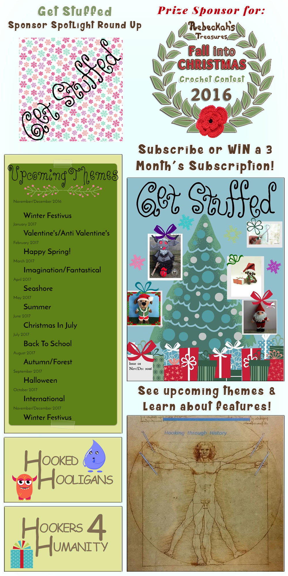 Get Stuffed - Sponsor Spotlight via @beckastreasures | #WIN a 3 month's subscription, see upcoming themes and learn all about some fabulous features from #GetStuffed | #fallintochristmas2016 #crochetcontest #spotlight #crochet #feature