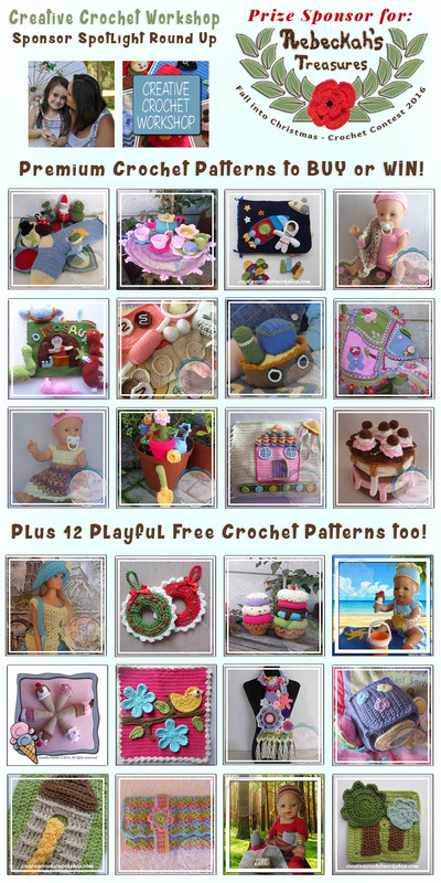 Creative Crochet Workshop - Sponsor Spotlight Round Up via @beckastreasures | 12 Premium + 12 #FREE Crochet Patterns by @CCWJoanita | #fallintochristmas2016 #crochetcontest #spotlight #crochet #roundup
