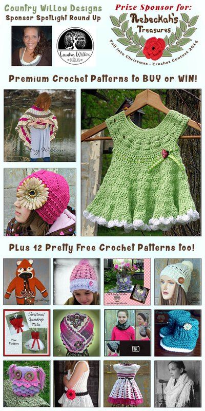 Country Willow Designs - Sponsor Spotlight Round Up via @beckastreasures | 3 Premium + 12 #FREE Crochet Patterns by @countrywillow12 | #fallintochristmas2016 #crochetcontest #spotlight #crochet #roundup