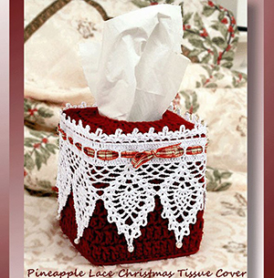 Pineapple Lace Christmas Tissue Cover - Crochet Pattern by @crochetmemories Featured at Crochet Memories - Sponsor Spotlight Round Up via @beckastreasures | #fallintochristmas2016 #crochetcontest #spotlight #crochet #roundup