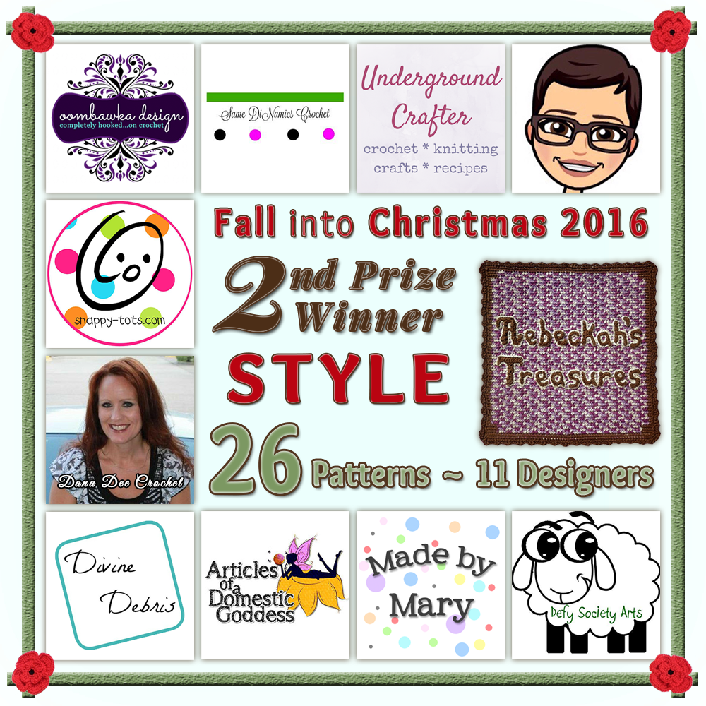 VOTE STYLE in the Fall into Christmas 2016 crochet contest via @beckastreasures! | Help your favourites win these awesome prizes. | SECOND PRIZE: 26 #free #crochet patterns! | Up to 5 votes daily! Vote here: https://goo.gl/8Lwng5 #fallintochristmas2016