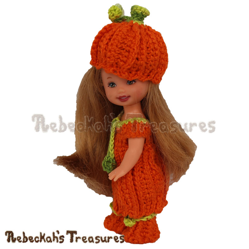 Pumpkin Cutie Child Fashion Doll by @beckastreasures | Free Crochet Pattern for A Designer's Potpourri Year-Long CAL with @countrywillow12, @crochetmemories, @Sherrys2boyz & @ArtofaDG | #pumpkin #crochet #barbie #kelly #mattel #doll #autumn | Join today!