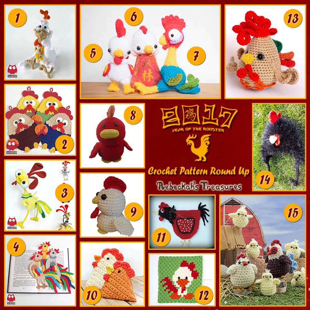 2017 Year of the Rooster Crochet Pattern Round Up by @beckastreasures | Features 15 designs from @LittleOwlsHut @sncxcreations @FreshStitches @petalstopicots #TeriCrewsDesigns @1dogwoof #ErmakElena @SnappyTots @MKCrochet