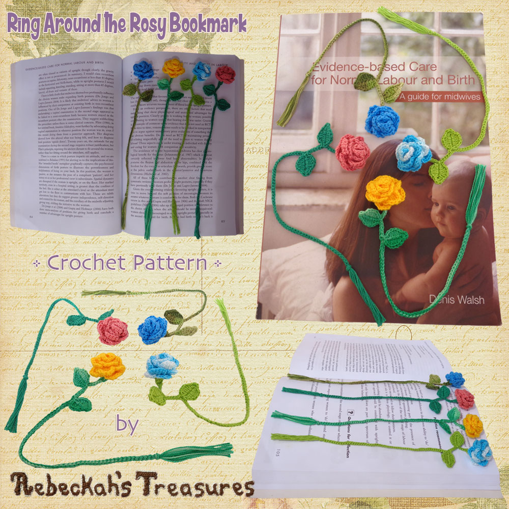 Ring Around the Rosy Bookmark | Premium Crochet Pattern by @beckastreasures with FREE video tutorial! | Coming March 6th, 2017 #rose #bookmark #crochet #pattern #tutorial #rosebud