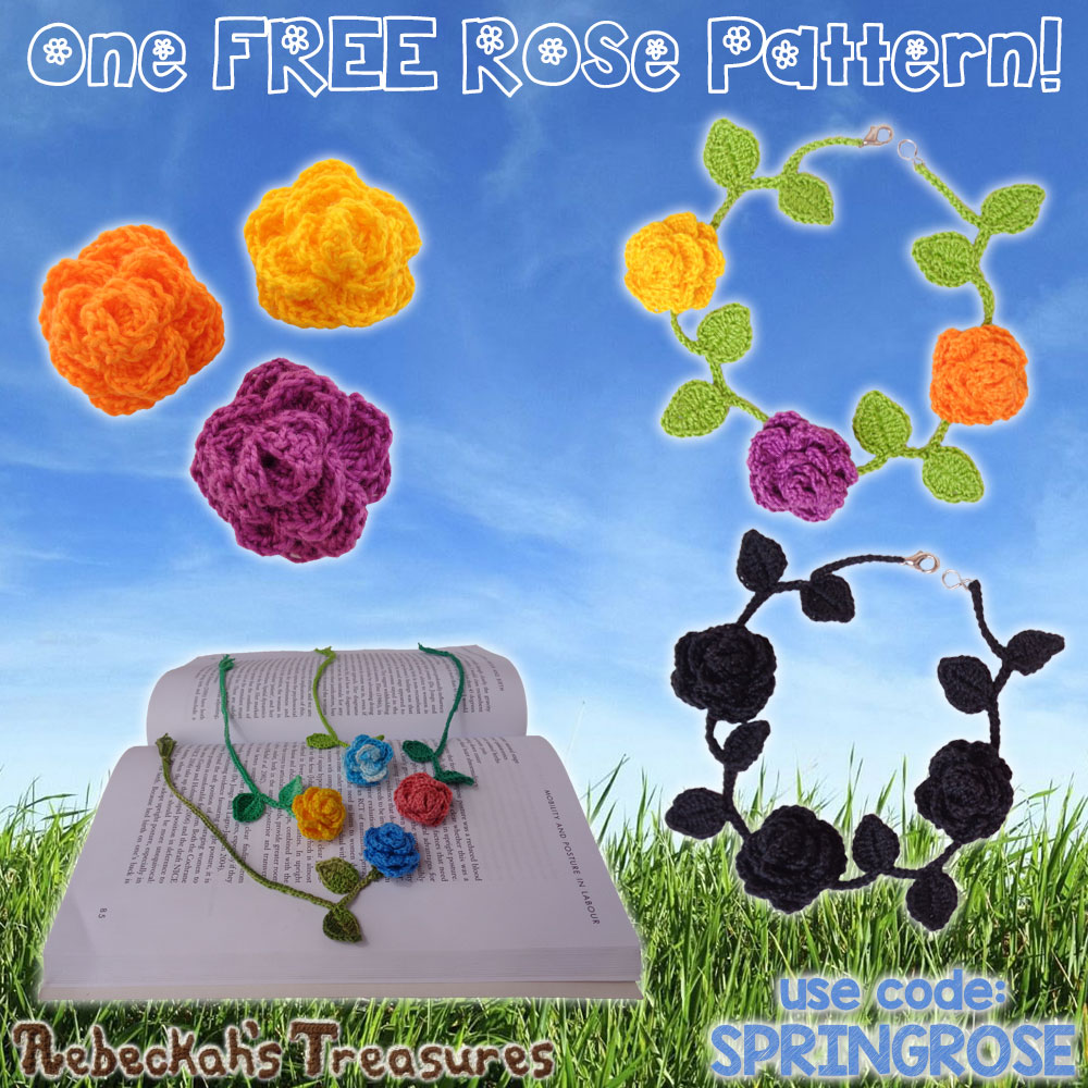 ONE #Free #Rose #Crochet Pattern for you by @beckastreasures! | Valid until the end of the day EST on April 17th, 2017.