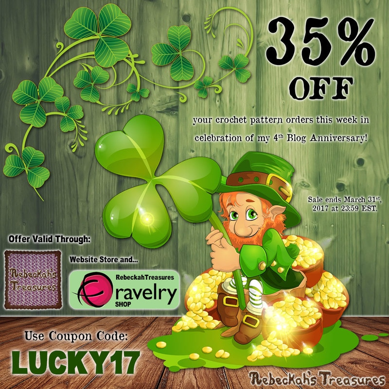 St. Patty's 2017 + 4th Blog Anniversary #SALE via @beckastreasures! | 35% off all orders! - Sale ends Friday, March 31st, 2017 at 23:59 EST.
