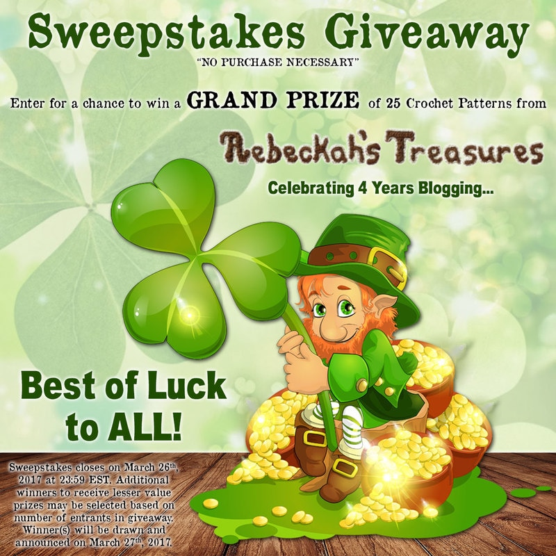 St. Patty's 2017 + 4th Blog Anniversary #Sweepstakes via @beckastreasures! | Enter to #win up to 25 #FREE #Crochet #Patterns (no purchase necessary) - #Giveaway closes Sunday, March 26th, 2017 at 23:59 EST.