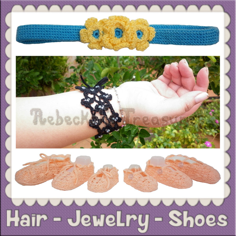 Hair - Jewelry - Shoe Crochet Patterns by @beckastreasures
