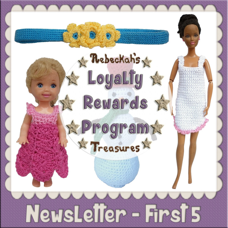 Loyalty Newsletter - First 5 Code Crochet Patterns by @beckastreasures