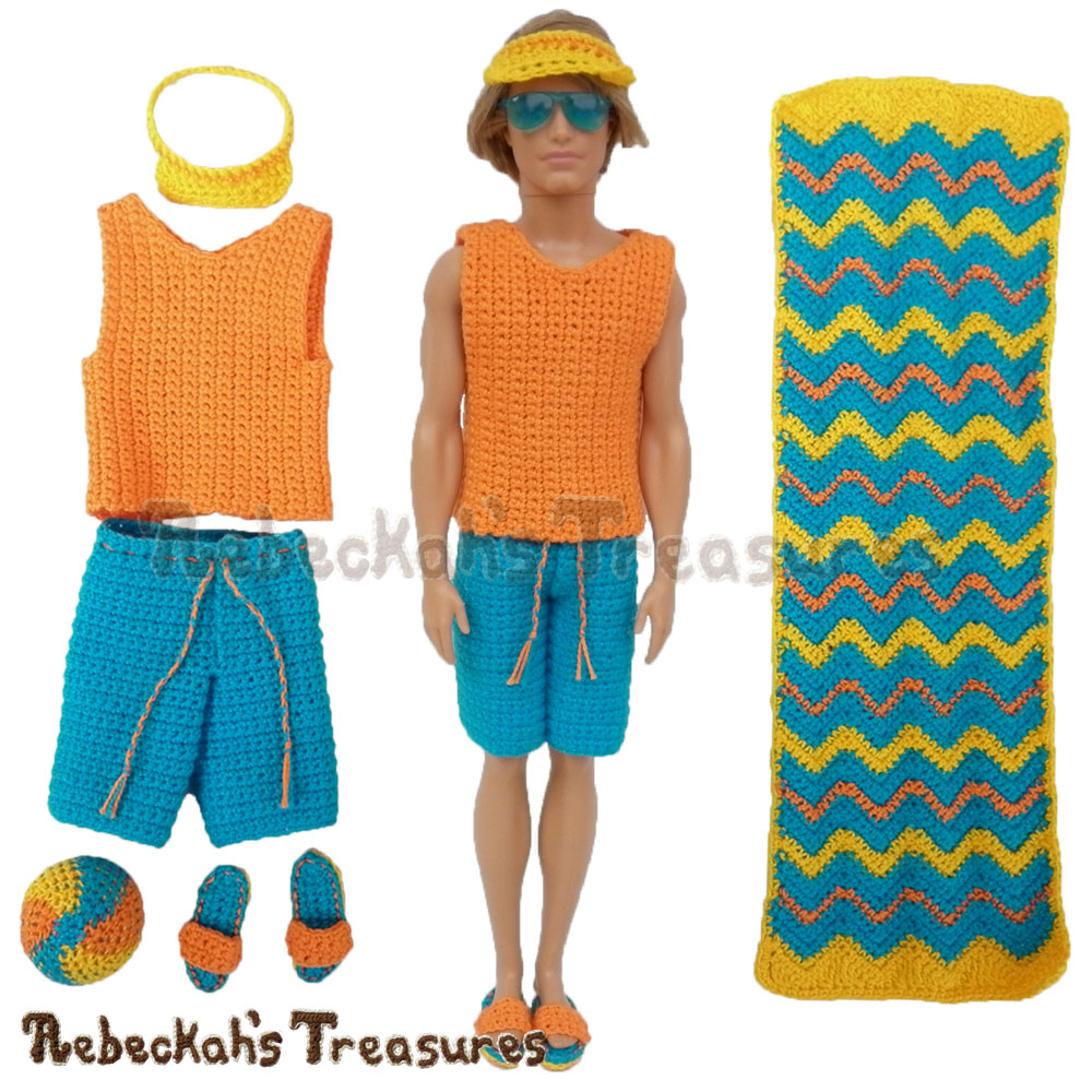 Surfer Dude set includes a tank, shorts, a visor, sandals, a ball & a towel! | Fashion Doll Crochet Pattern by @beckastreasures | Written pattern for 6 designs + photo tutorials too | Available to purchase in my #Ravelry & Website shops - Get your copy today! | #crochet #pattern #surfer #dude #surf #Ken #Barbie #fashion #doll #summer #beach