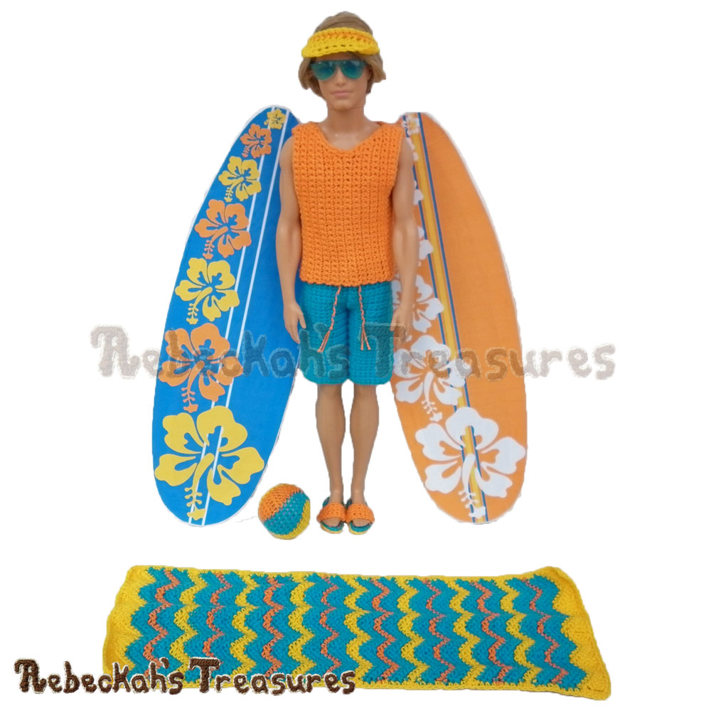 Surfer Dude is ready to hit the waves! | Fashion Doll Crochet Pattern by @beckastreasures | Written pattern for 6 designs + photo tutorials too | Available to purchase in my #Ravelry & Website shops - Get your copy today! | #crochet #pattern #surfer #dude #surf #Ken #Barbie #fashion #doll #summer #beach
