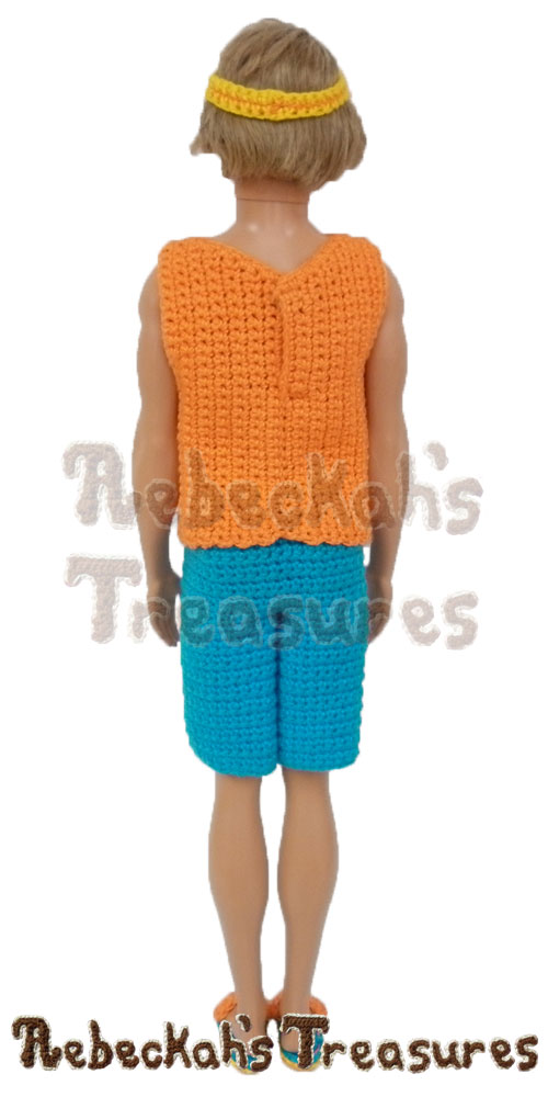 Surfer Dude loves summer! | Fashion Doll Crochet Pattern by @beckastreasures | Written pattern for 6 designs + photo tutorials too | Available to purchase in my #Ravelry & Website shops - Get your copy today! | #crochet #pattern #surfer #dude #surf #Ken #Barbie #fashion #doll #summer #beach