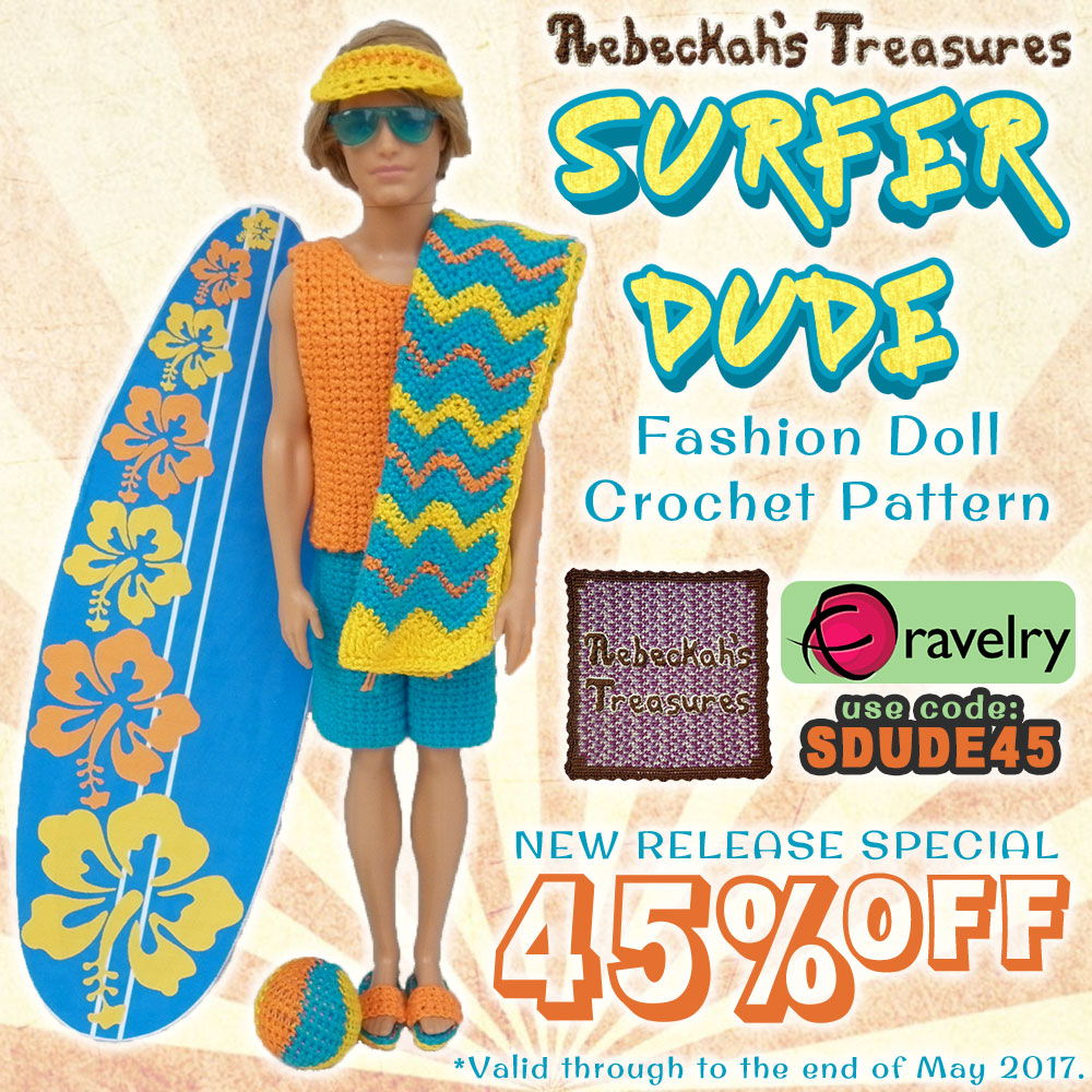 BRAND NEW RELEASE: Take 45% OFF Surfer Dude Fashion Doll Crochet Pattern by @beckastreasures | Written pattern for 6 designs + photo tutorials too | Available to purchase in my #Ravelry & Website shops - Get your copy today! | #crochet #pattern #surfer #dude #surf #Ken #Barbie #fashion #doll #summer #beach | *Offer valid through May 2017. Use code: SDUDE45