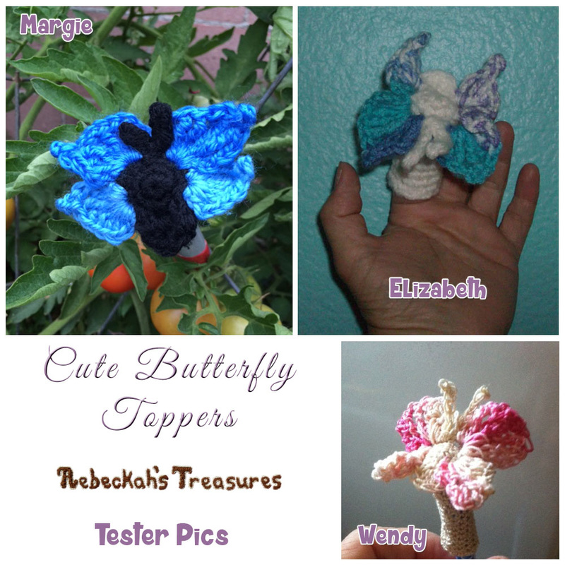 Cute Butterfly Pencil Topper / Finger Puppet | FREE crochet pattern by @beckastreasures via @keep_on_farting | Tester pics by Elizabeth M., Margie E. & Wendy B.