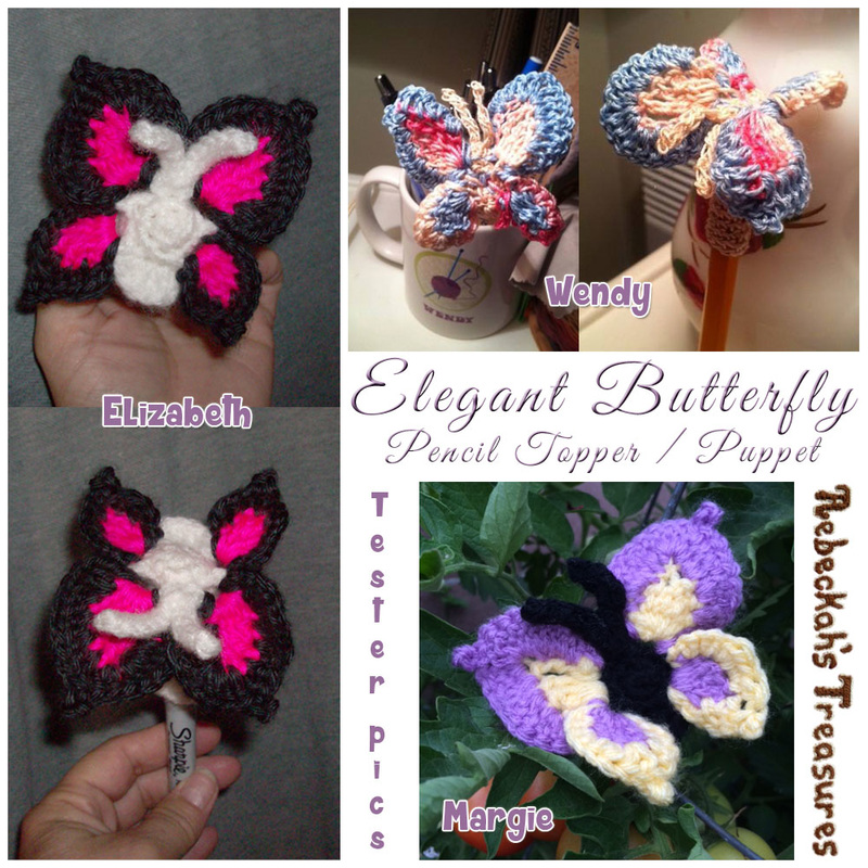 Elegant Butterfly Pencil Topper / Finger Puppet | FREE crochet pattern via @beckastreasures | Tester pics by Elizabeth M., Margie E. & Wendy B.