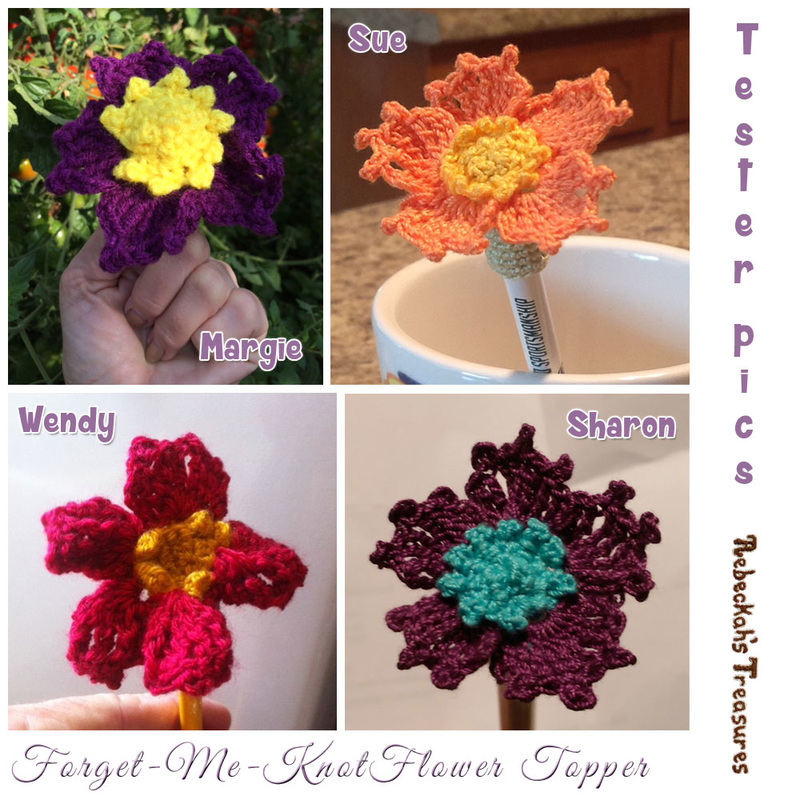 Forget-Me-Knot Flower Pencil Topper / Finger Puppet | FREE crochet pattern via @beckastreasures | Tester pics by Margie E., Sharon E., Sue B. & Wendy B.