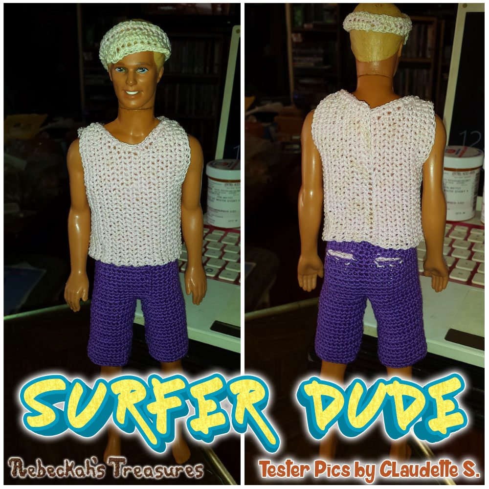 Surfer Dude Fashion Doll Crochet Pattern by @beckastreasures | Tester Pictures by Claudette