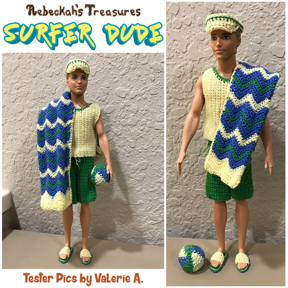 Surfer Dude Fashion Doll Crochet Pattern by @beckastreasures | Tester Pictures by Valerie
