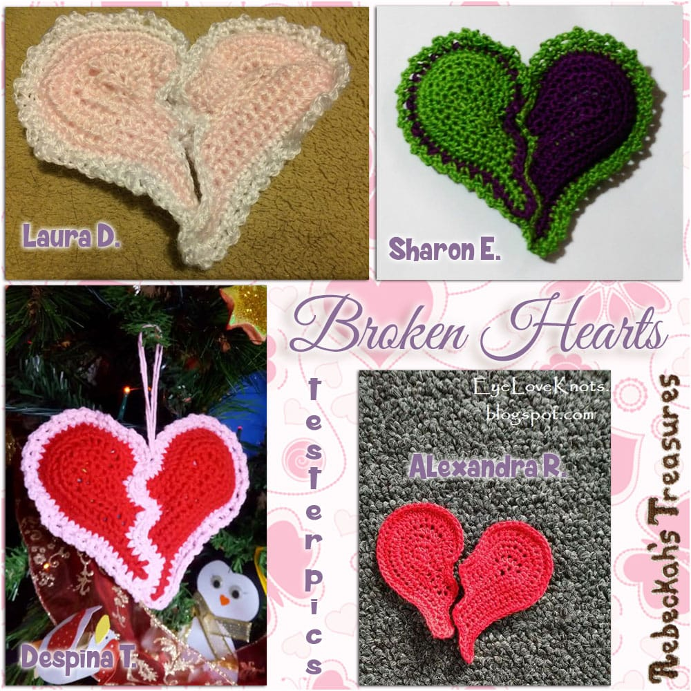 Broken Hearts | Crochet Pattern by @beckastreasures | Tester Pictures by Alexandra, Despina, Laura & Sharon