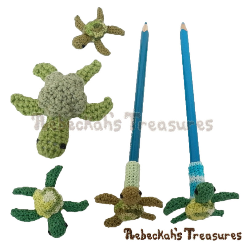 Dreaming of Pencil Toppers - Turtle Delights | Free crochet patterns coming to @beckastreasures July-August 2016!