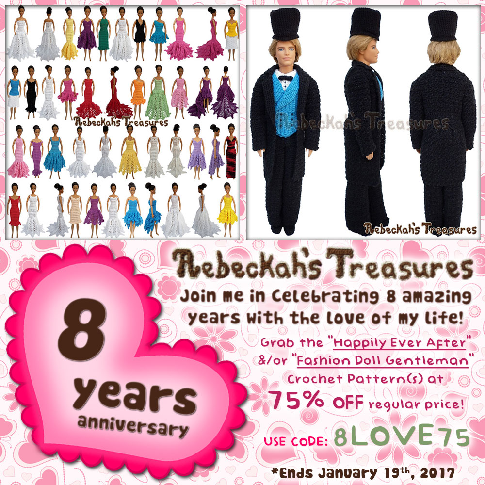 75% off the Happily Ever After and/or Gentleman Fashion Doll patterns! | 8 Year Anniversary with @beckastreasures. | Ends January 19th, 2017 at 23:59 EST