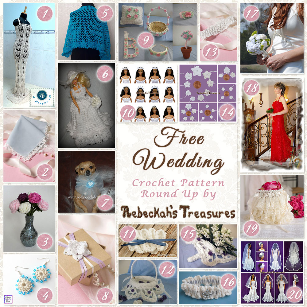 20 Free Wedding Crochet Patterns Round Up - Rebeckah's Treasures