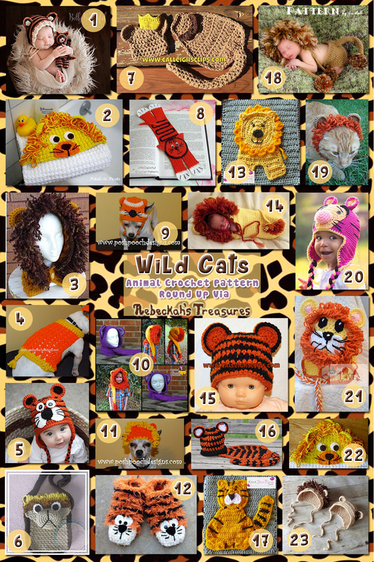 Wild Cat Apparel & Accessories- Animal Crochet Pattern Round Up via @beckastreasures