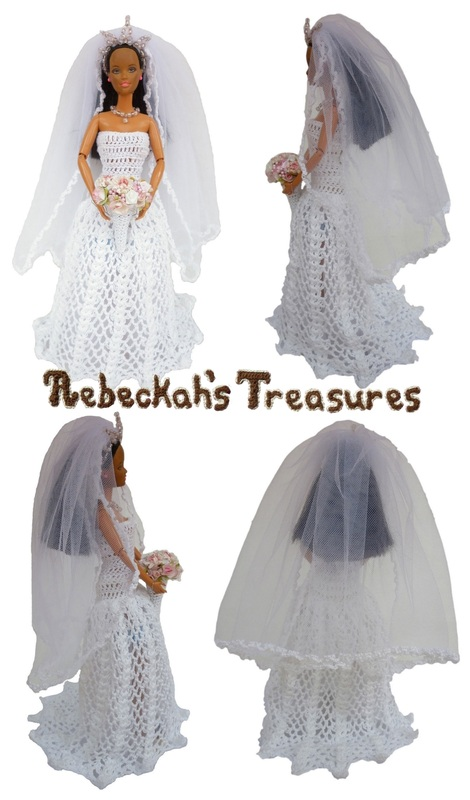 Crochet Barbie Wedding Set for Isabel by Rebeckah's Treasures ~ Barbie Bride with Veil pulled back