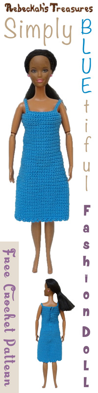 Simply BLUEtiful Woman Fashion Doll Dress / Free Crochet Pattern by @beckastreasures