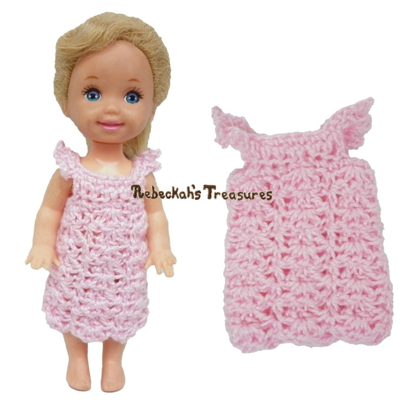 Simple Dress 12 ~ Pretty in Pink Free Crochet Pattern for Children Fashion Dolls by Rebeckah's Treasures