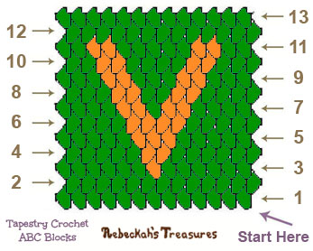 Letter V Tapestry Crochet Graph Pattern via @beckastreasures