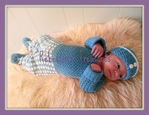 Baby wearing Criss Cross Diamond Romper Layette by Rebeckah's Treasures
