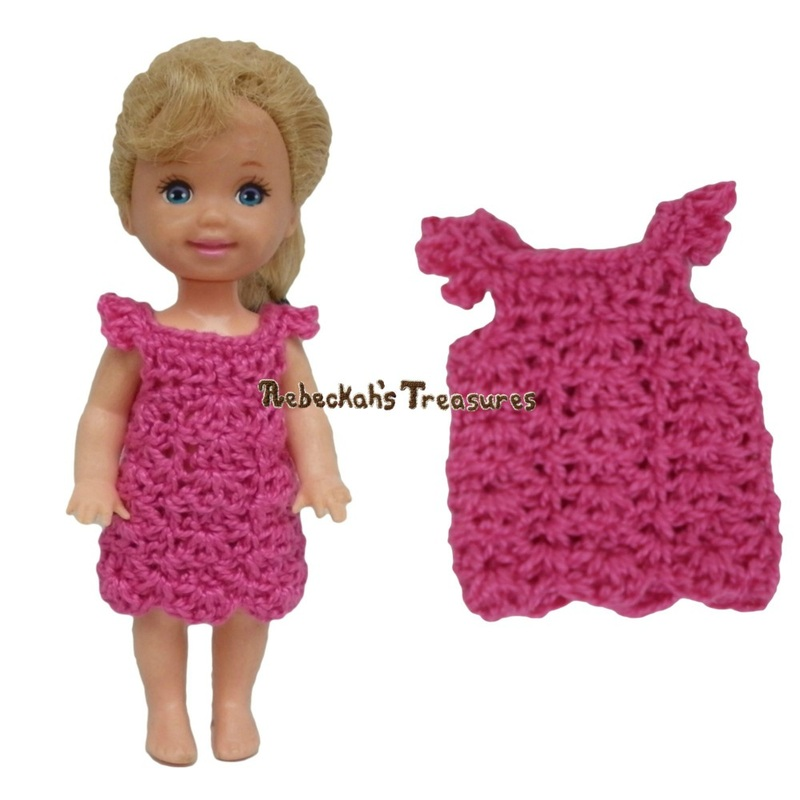Simple Dress 10 ~ Pretty in Pink Free Crochet Pattern for Children Fashion Dolls by Rebeckah's Treasures