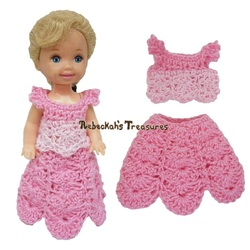 Simple Top 6 + Dressy Skirt 8 ~ Pretty in Pink Free Crochet Pattern for Children Fashion Dolls by Rebeckah's Treasures