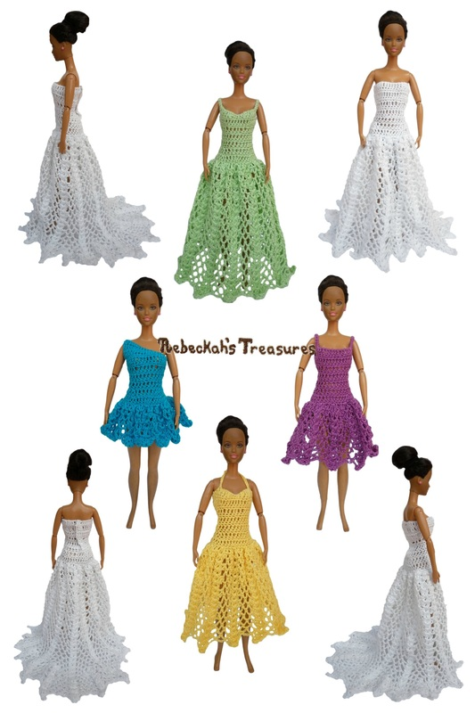 A-Line/Princess Dresses of the Happily Ever After Crochet Pattern for Fashion Dolls