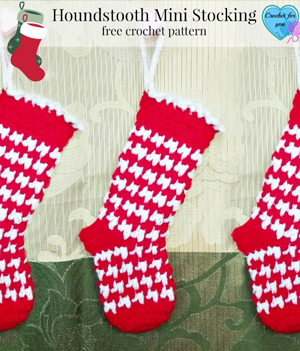 Houndstooth Mini Stocking by Erangi of Crochet for You - Featured on @beckastreasures Saturday Link Party!