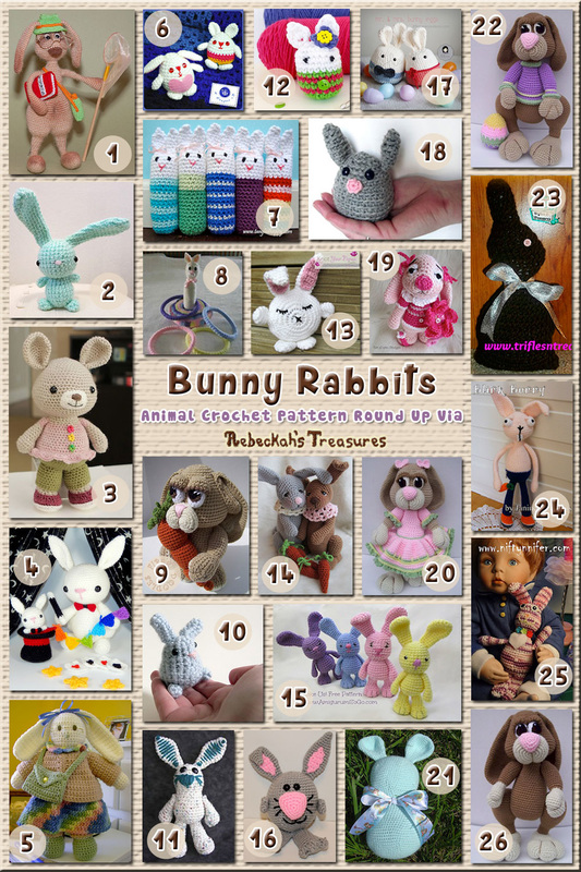 Bunny Rabbits Part 3 – Upright Toys & Softies | Animal Crochet Pattern Round Up via @beckastreasures