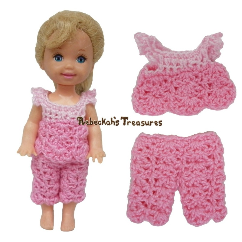 Dressy Top 6 + Capris 8 ~ Pretty in Pink Free Crochet Pattern for Children Fashion Dolls by Rebeckah's Treasures