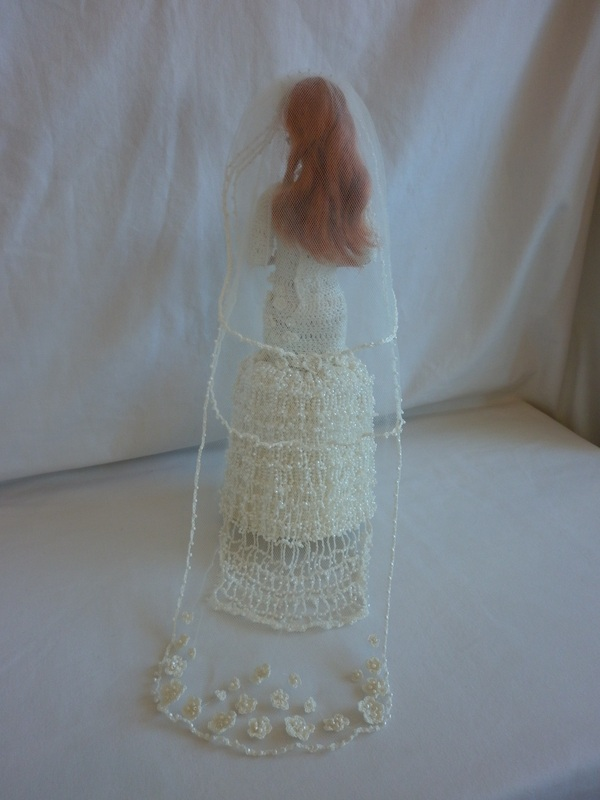 Crochet Barbie Bride Wedding Dress with Train